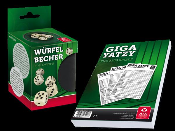 Set Würfelbecher mit Giga Yatzi-Block