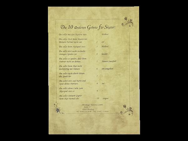 A4-Blatt mit den 10 Skat-Geboten - die Regeln des Skatspiels auf humorvolle Weise.
