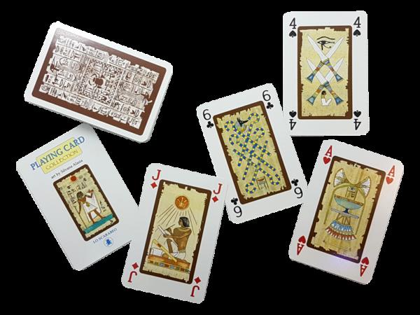 Antiquarische Bridge-Spielkarten zum Thema: Das Alte Ägypten - Geschichte auf Spielkarten erleben, offen