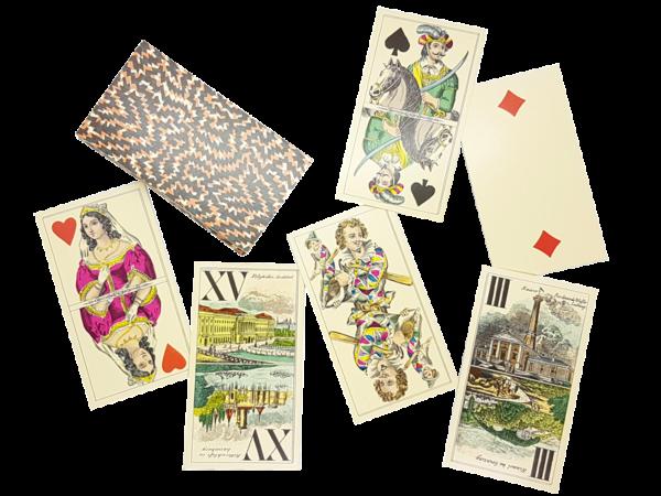 Antiquarisches Veduten-Tarock-Karten in edler Verpackung, offen