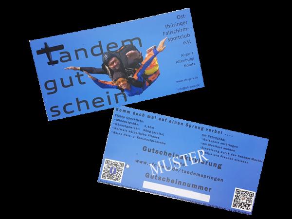 Gutschein für einen Tandemsprung über dem Airport Altenburg-Nobitz