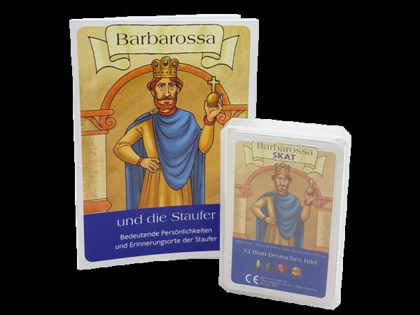 """Barbarossa Skat, deutsches Blatt mit Broschüre """"Barbarossa und die Staufer"""""""
