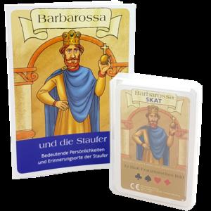 """Barbarossa Skat, französisches Blatt mit Broschüre """"Barbarossa und die Staufer"""""""