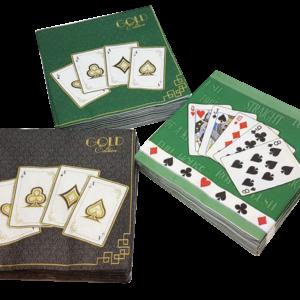 Servietten mit Spielkartenmotiven, 3 Ausführungen