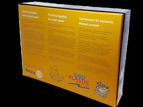 weihnachtliches Rotary-Puzzle - puzzeln für sauberes Wasser, Rückseite
