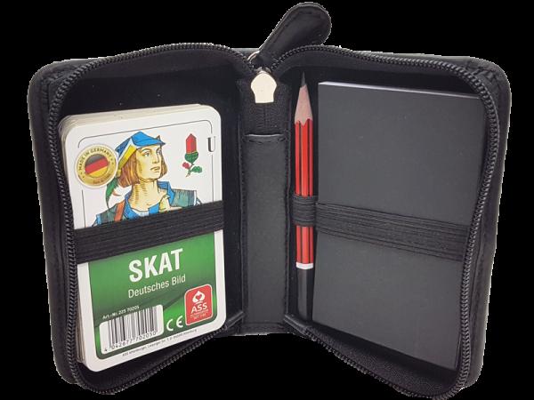 hochwertiges Lederetui für Skat-Karten, echt Leder, mit Beispielkarten (nicht im Lieferumfang)