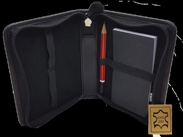 hochwertiges Lederetui für Rommé-Karten, echt Leder, offen