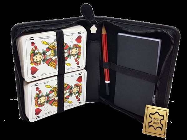 hochwertiges Lederetui für Rommé-Karten, echt Leder, mit Beispielkarten (nicht im Lieferumfang)
